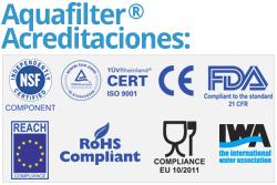 Filtro De Ducha Aquafilter Acreditaciones